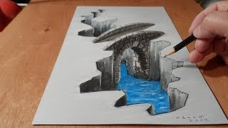 Illustration, Drawing a 3D Bridge, Trick Art