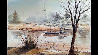 Watercolor landscape painting tutorial in urdu hindi  by M Kazmi Studios