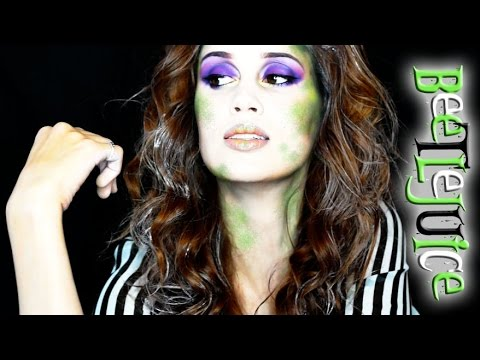 BEETLEJUICE Halloween Makeup Tutorial - (Girly Version)