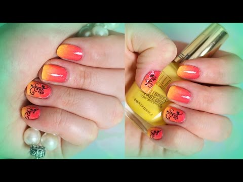 Summer Sunset Ombre Nails. Easy Nail Designs for short nails : Cute Beach Nails
