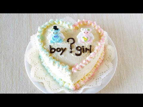 How to Make Gender Reveal Cake (Easy Butter Cream Cake Recipe) ジェンダーリビールケーキ (赤ちゃんの性別発表!レシピ)