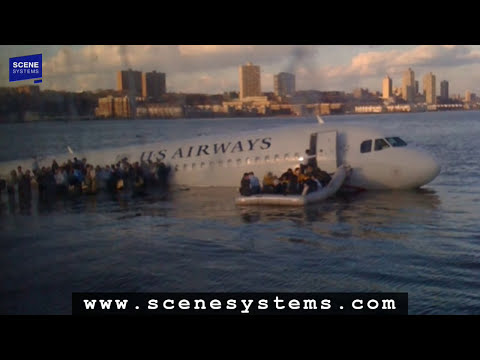 Hudson Flight 1549 HD Animation with audio for US Airways Water Landing