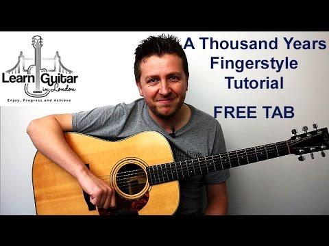 A Thousand Years - Fingerstyle Guitar Tutorial  - Christina Perri - Beginner/Intermediate
