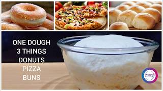 From this One Dough you can make Donuts, Pizza and Buns Recipe easily By FoodLog Urdu|English|Hindi