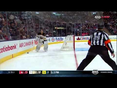Leo Komarov hammers Johnny Boychuk 2 Feb 2013 Boston Bruins vs Toronto Maple Leafs NHL Hockey
