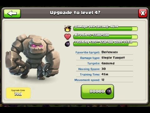 Clash of Clans - Buying Golem MAX LEVEL 4 with Gameplay