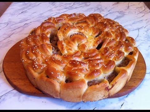 Пирог с мясом хризантема рецепт пошагово