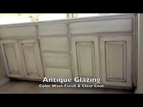Faux paint finish walls and antique glaze cabinets for Faux fini meuble