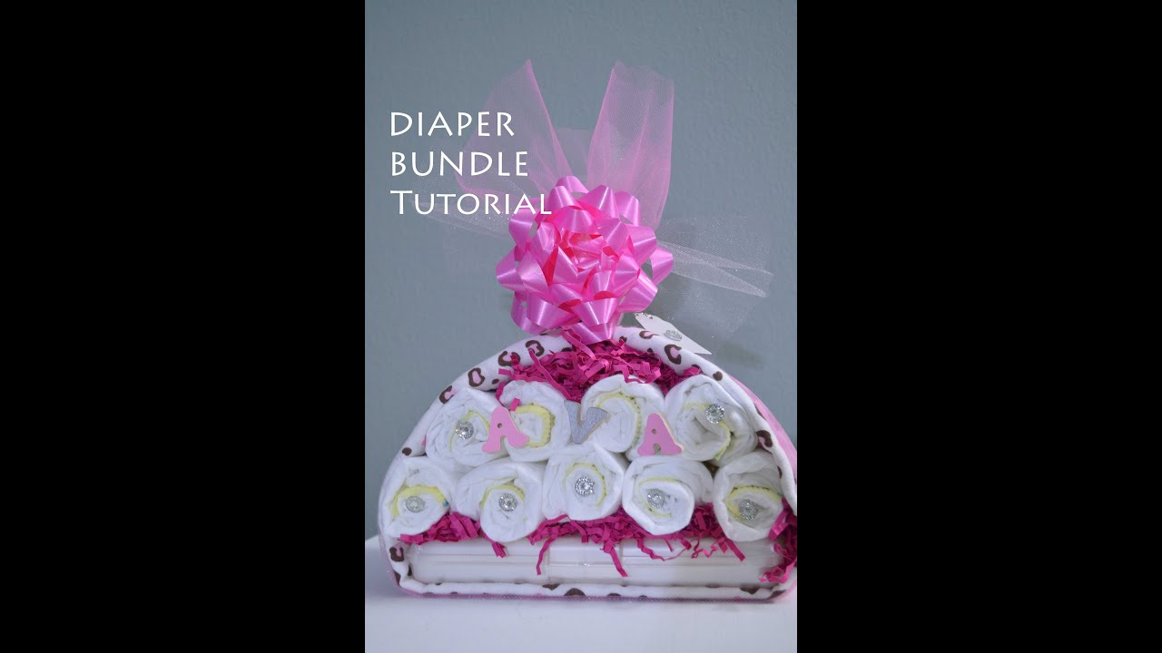 Baby Gift Ideas Using Diapers : Tutorial diaper stork bundle easy baby shower gift