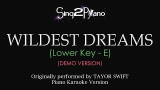 Wildest Dreams (Lower Key - Piano karaoke demo) Taylor Swift
