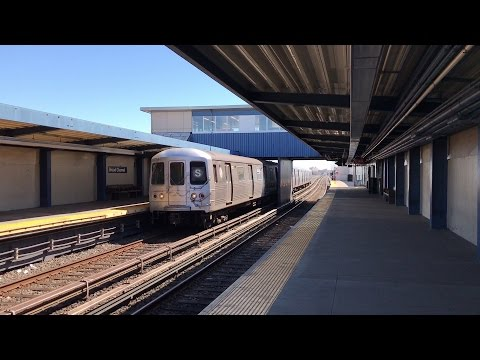 NYC Subway HD 60FPS: Pullman Standard R46 Rockaway Park Shuttle Train @ Broad Channel (3/29/17)