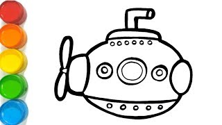 Submarine/fish coloring and drawing Learn Colors and English for Kids, Toddlers   BebeMong Toy Art