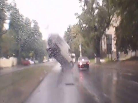 Manhole Flips Van
