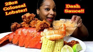 FRIED COLOSSAL LOBSTER TAIL AND TIGER PRAWN SEAFOOD BOIL MUKBANG