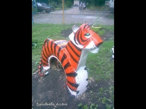 Как сделать тигра из покрышки