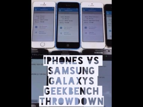 Apple iPhone 5S. 5C. 5. 4S vs Samsung Galaxy S4. S4 Active. Note 2. S3 Geekbench 3 Comparison @att