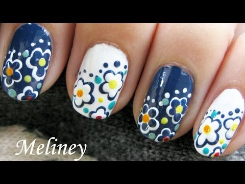 Freehand Day & Night Flower Nails  - Simple Easy Spring Nail Design for short nails DIY