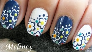 EASY FLOWER NAILS ART DAY & NIGHT FLORAL DESIGN FALL TUTORIAL CUTE DOTTING TOOL SHORT NAIL POLISH