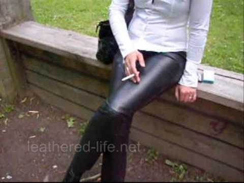 Leathered Life - girl in leather pants smoking