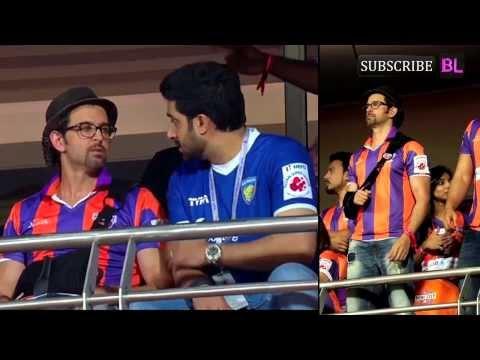 Hrithik Roshan, Arjun Kapoor and Abhishek Bachchan at ISL match in Pune