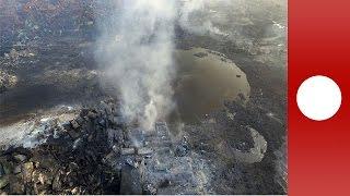 Drohnenaufnahmen Nach Explosionen In Lagerhalle In Tianjin, China
