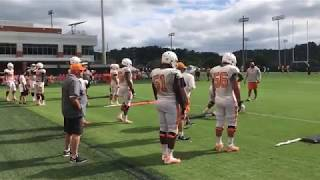 Phillip Fulmer seen coaching offensive linemen at UT Vols football practice