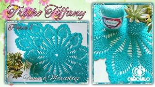 💙Trilho de mesa Tiffany em Crochê.1/3 Por Vanessa Marcondes.