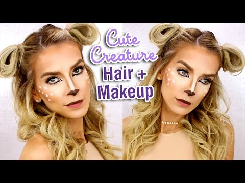 LAST MINUTE HALLOWEEN HAIR + MAKEUP TUTORIAL | Deer Costume Makeup