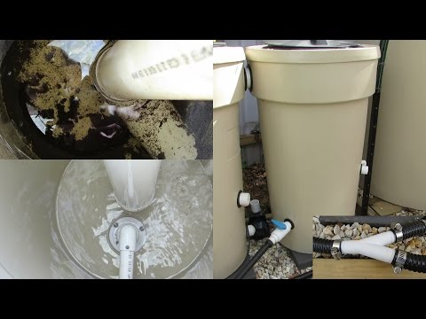 Aquaponic Build Vlog 6. Radial Flow Filter clean out  & playing with the plumbing..