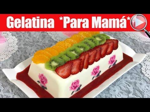 Gelatina de Queso Crema con Salsa de Fresa y Transfer - Para Mamá - Recetas en Casayfamiliatv