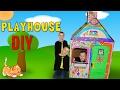 Kids DIY Cardboard Box House Playtime -
