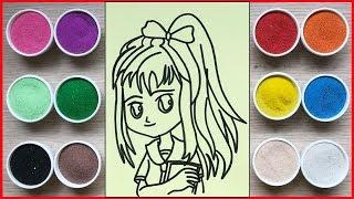 Đồ chơi trẻ em, tô màu tranh cát cô gái học sinh - Colored sand painting student toys (Chim Xinh)