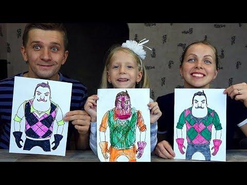 3 MARKER CHALLENGE ROBLOX с LOL и ПРИВЕТ СОСЕД Мы рисуем вы Голосуете за Победителя / Family Box