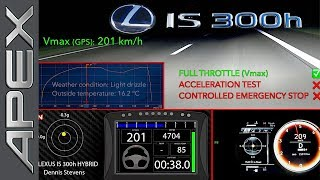 LEXUS IS 300h - FULL THROTTLE + CONTROLLED EMERGENCY STOP + ACCELERATION (2017)