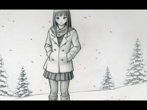 Drawing time lapse winter scene youtube