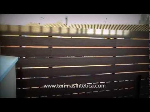 Terraza en tarima sint tica suelo valla y separador for Bordillos de plastico para jardin