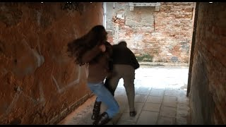 Martial arts teen girl vs kidnapper in Italy