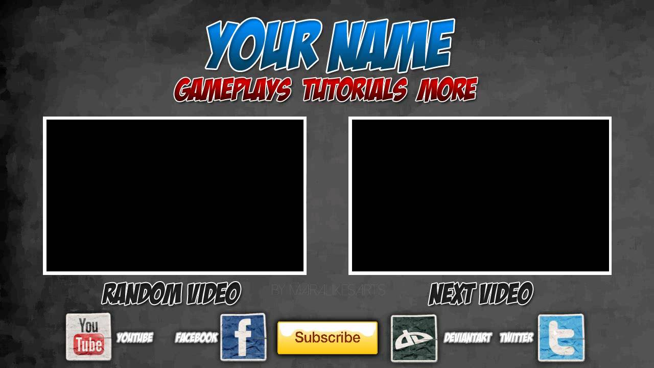 Free Outro Template #0005 - 2D : Paint.NET : PhotoShop : Camtasia ...