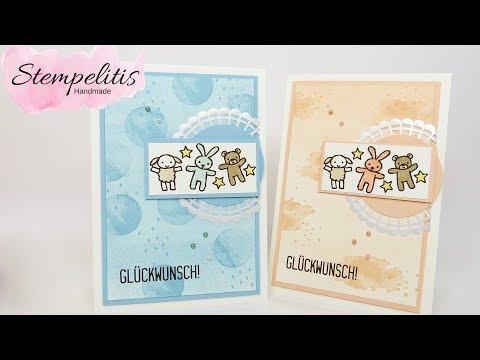 Babykarte mit Schwammwalzen Technik Stampin' Up! von Stempelitis