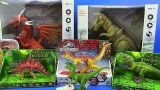Dinosaurs Jurassic World !!! Velociraptor,Allosaurus,T-Rex, Dragons and more ! TOYS FOR KIDS