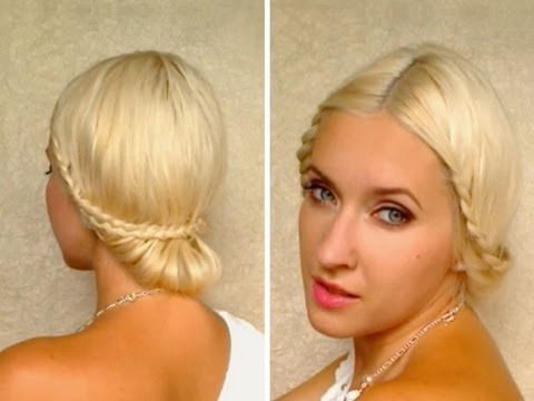 Braided wedding updo hairstyles for medium long hair tutorial Prom greek goddess