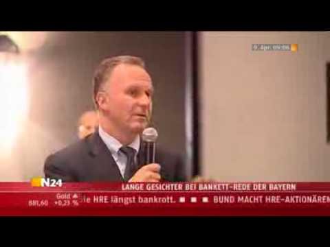 Krise bei Bayern, Bankett-Rede von Karl-Heinz Rummenigge,►►Weltrekordversuch siehe rechts►►►
