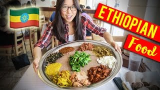 ETHIOPIAN FOOD Family Style with Meat & Vegetarian Combo