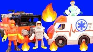 Imaginext Rescue Heroes Team With First Responders & Fire Truck Put Out Plane Crash Explosion Fire
