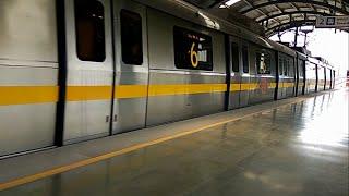 Qutub Minar, New Delhi - Metro Train arriving at Qutub Minar Station