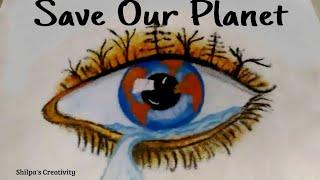 Save earth rangoli design