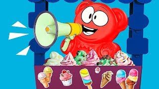 JELLY GUMMY BEAR'S ICE CREAM FOR ALL HIS FRIENDS. NEW ADVENTURES.