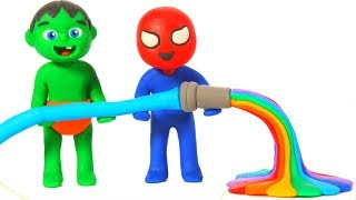SUPERHERO BABIES MAKE RAINBOW WATER ❤ SUPERHERO PLAY DOH CARTOONS FOR KIDS