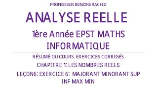EXERCICES ANALYSE 1ERE ANNEE CHAPITRE1 LECON6