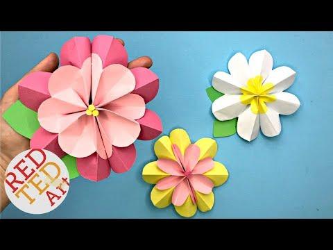 Easy Paper Flower DIY - 3D Spring Flowers DIY - Making Paper Flowers Step By Step